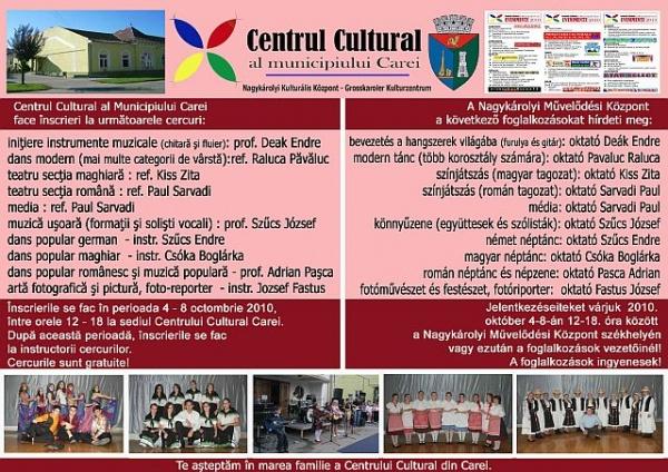 Au început înscrierile la cercurile Centrului Cultural
