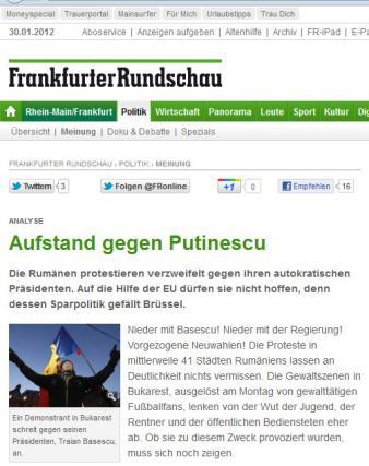 """Frankfurter Rundschau publica in ianuarie: """"Revoltă împotriva autocratului Băsescu-Putinescu"""""""