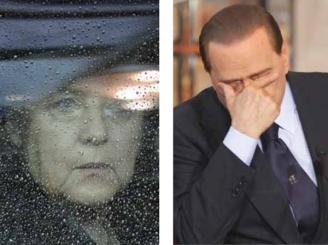 Berlusconi, mazilit de PPE, cu mâna lui Merkel