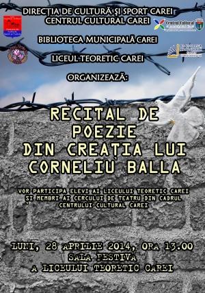Recital de poezie Corneliu Balla,la Liceul Teoretic