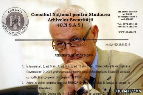 György Frunda, a fost INFORMATOR al SECURITĂŢII cu numele conspirative EMIL, FREND, FURNEA, FAUR şi FRICIU