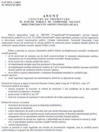Concurs de promovare în funcţie publică pentru postul de director executiv adjunct Poliţie Locală
