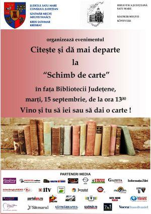 Biblioteca Județeană Satu Mare invită comunitatea sătmăreană  la un nou schimb de carte