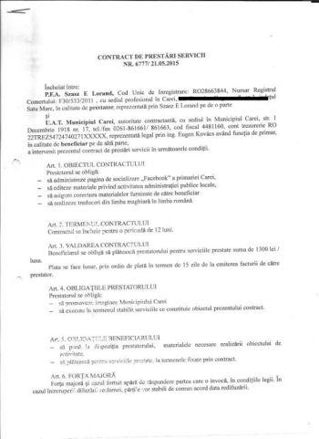 """Finul primarului Kovacs, cu contract semnat cu primăria Carei şi pentru corectură, """"sperie"""" cititorii din Bacău ai Buletin de Carei"""