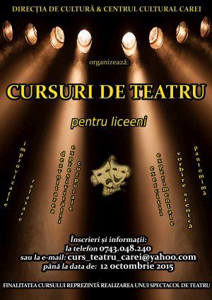 Inscrieri pentru cursuri de teatru la Centrul Cultural Carei