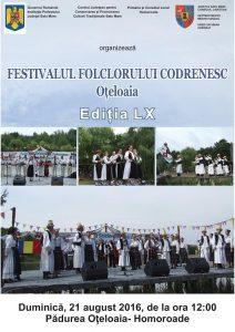 """Festivalul Folcloric Codrenesc """"Oțeloaia"""" – ediția LX"""