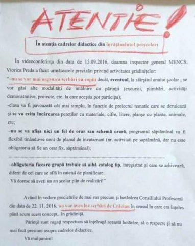 Grădiniță din Mureș are interzis la serbarea de Crăciun, cu semnificații religioase