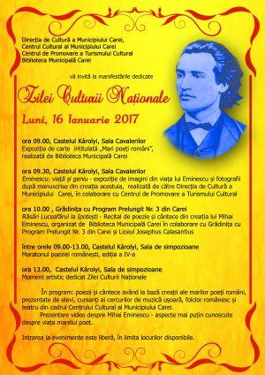Programul evenimentelor dedicate Zilei Culturii Naționale la Carei