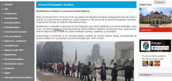Limba română, pasăre rară pe site-ul Primăriei Carei