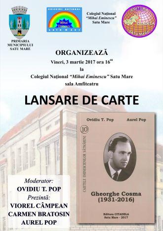 In Memoriam Gheorghe Cosma. Lansare de carte