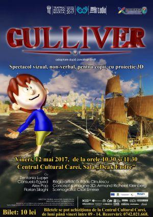 Gulliver la Carei. Spectacol vizual non-verbal cu proiecție 3D
