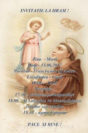 Invitaţie la Hramul parohiei  Sf Anton de Padova din  Carei