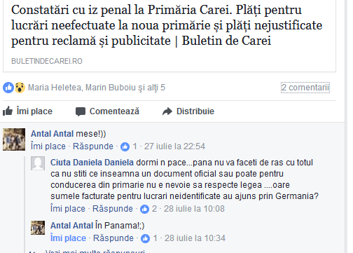 Raportul oficial al Camerei de Conturi Satu Mare după auditul de la Primăria Carei. Nu e ,,mese,, din păcate ci cât se poate de real