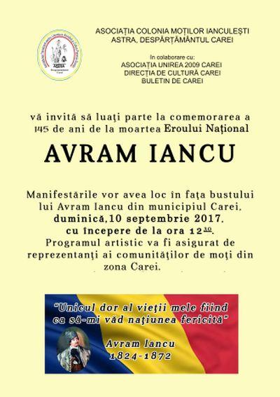 Invitaţie la comemorarea lui Avram Iancu