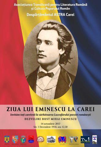 Despărţământul ASTRA Carei vă invită la dezvelirea bustului lui Mihai Eminescu