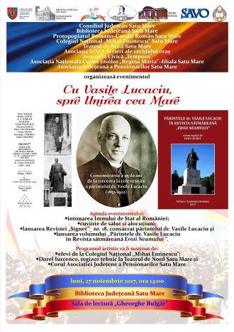 """Invitaţie la evenimentul """"Cu Vasile Lucaciu, spre Unirea cea Mare"""""""