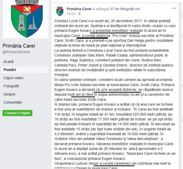 Greu cu limba română pe pagina Primăriei Carei