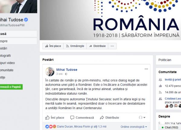 Mesajul premierului României faţă de autonomie