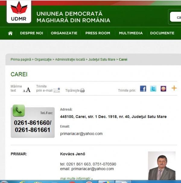 Adresele şi telefoanele Primăriei Carei din România preluate de UDMR Carei