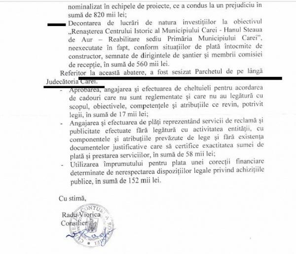 Curtea de Conturi a sesizat Parchetul de pe lângă Judecătoria Carei pentru abaterile de la Primăria Carei