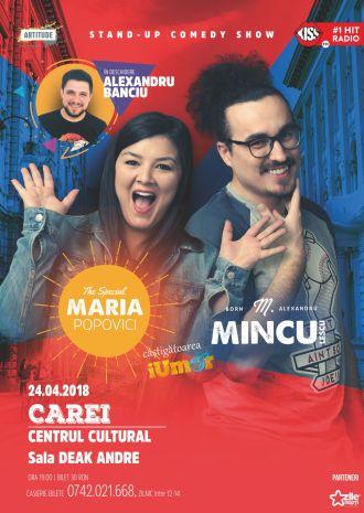 Show de stand-up comedy la Carei cu Maria Popovici, Mincu și Alexandru Banciu