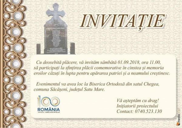 Placă comemorativă pentru eroii din Chegea