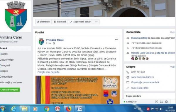 Lansarea de carte românească de la Castel a apărut şi pe pagina Primăriei Carei
