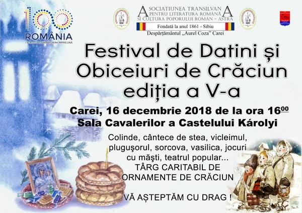 Invitaţie. Festivalul de Datini şi Obiceiuri de Crăciun ASTRA Carei 2018
