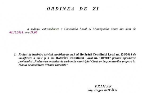 Consiliul Local Carei convocat de Sfântul Nicolae