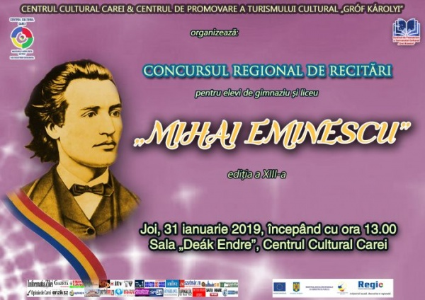 "Înscrieri la Concursul regional de recitări ""Mihai Eminescu"""
