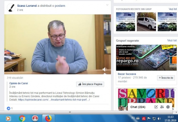 APAR clase de DUAL în limba română! Consilierul primarului postează pe pagina sa personală de Facebook în timpul programului