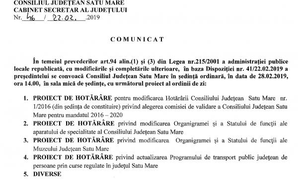 Ședință ordinară la Consiliul Județean Satu Mare