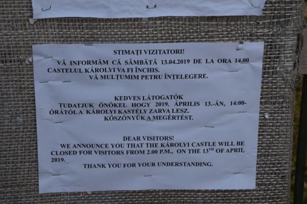 Orar redus de vizitare a Castelului Karolyi pentru data de 13 aprilie 2019