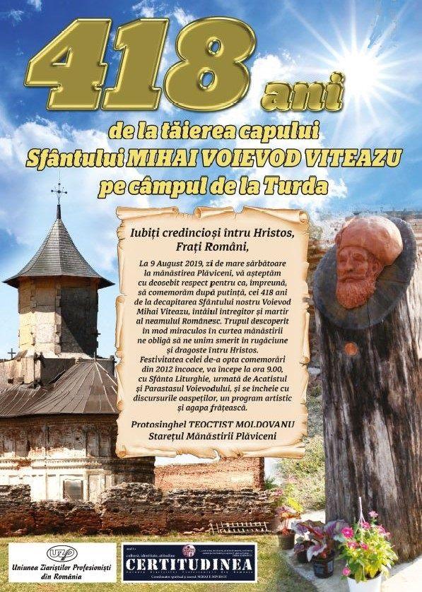 INVITAȚIE LA PLĂVICENI – 418 ani de la Tăierea Capului lui Mihai Viteazu