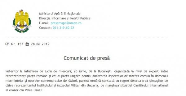 Declarații false ale oficialilor maghiari după întâlnirea cu reprezentanții Ministerului Apărării din România