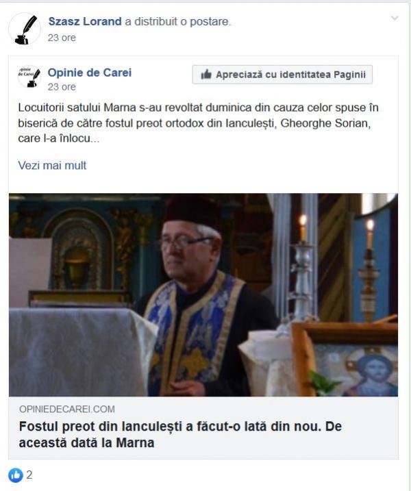 Opinie de Carei dezinformează din nou. Atacuri la adresa unui preot ortodox pensionar prea român