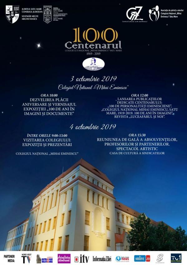 Centenarul Colegiului Național Mihai Eminescu. Invitație