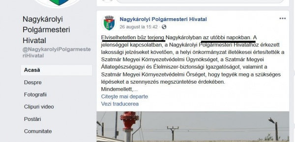 Dezinformare în limba maghiară pe pagina Primăriei Carei