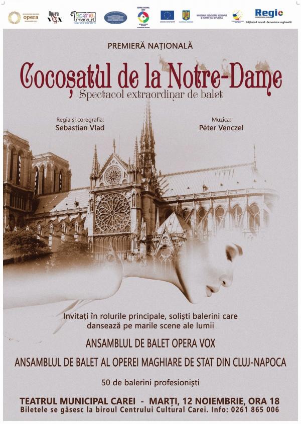 """""""Cocoșatul de la Notre Dame"""" la Carei cu Ansamblul de balet """"Opera Vox"""" și Ansamblul de balet al Operei Maghiare de Stat din Cluj – Napoca"""