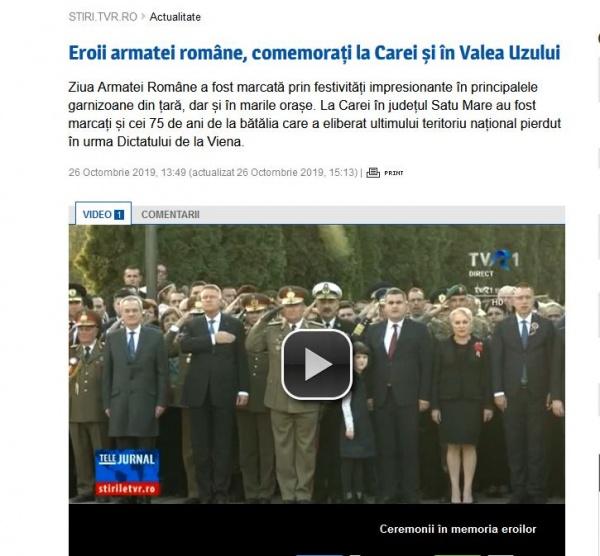 Carei și Valea Uzului menționate la știrile TVR de Ziua Armatei