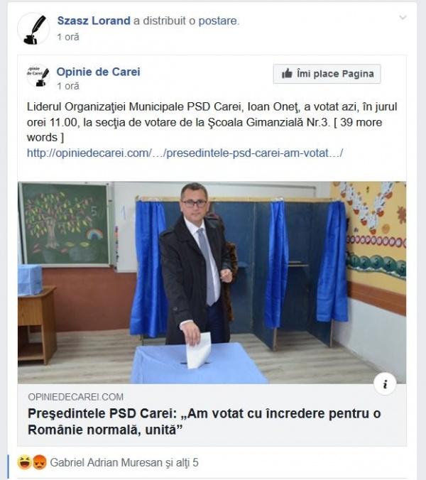 Președintele PSD Carei încrezător în candidatul Klaus Iohannis