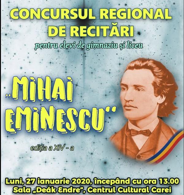 """Au început înscrierile pentru Concursul regional de recitări """"Mihai Eminescu"""""""