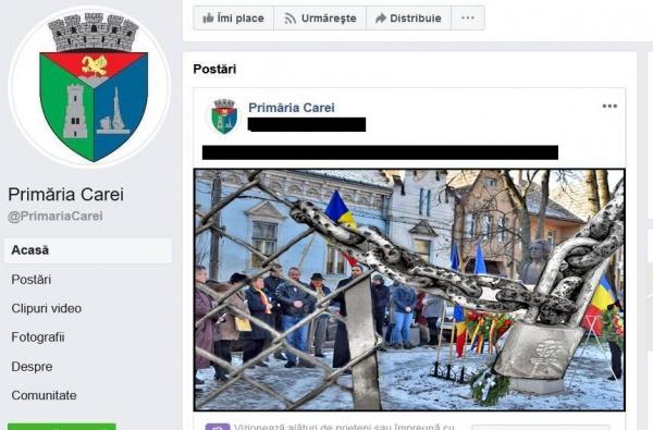 Nimic despre momentul omagial de la bustul lui Mihai Eminescu pe pagina Primăriei Carei