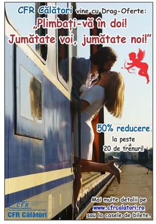 Bilete de tren cu 50% reducere de Dragobete