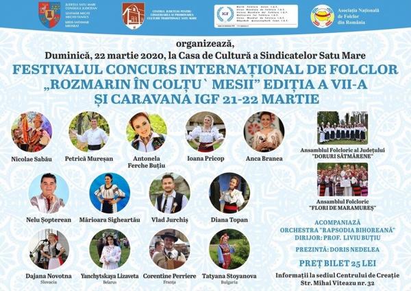 """Festival Concurs Internațional de Folclor ,,Rozmarin în colţu' mesii"""" la Satu Mare"""