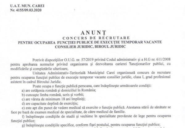 Post vacant  la Primaria Carei. Consilier juridic