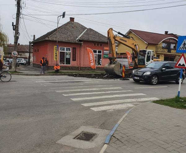 Lucrări pe strada Mihai Viteazul Carei