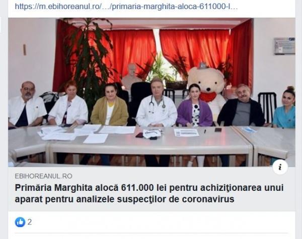 La Marghita se poate. Primăria cumpără aparat pentru testarea populației  suspecte de coronavirus