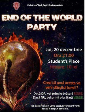 """Petrecere caritabilă  """"END OF THE WORLD """""""