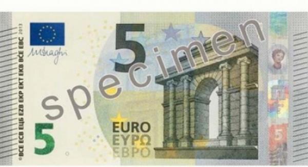 Noua bancnotă de 5 euro va fi pusă în circulaţie din luna mai